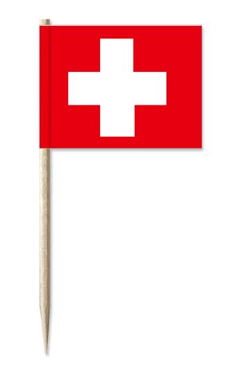 50 Dekopicker Schweiz Fahne Flagge Minifahnen