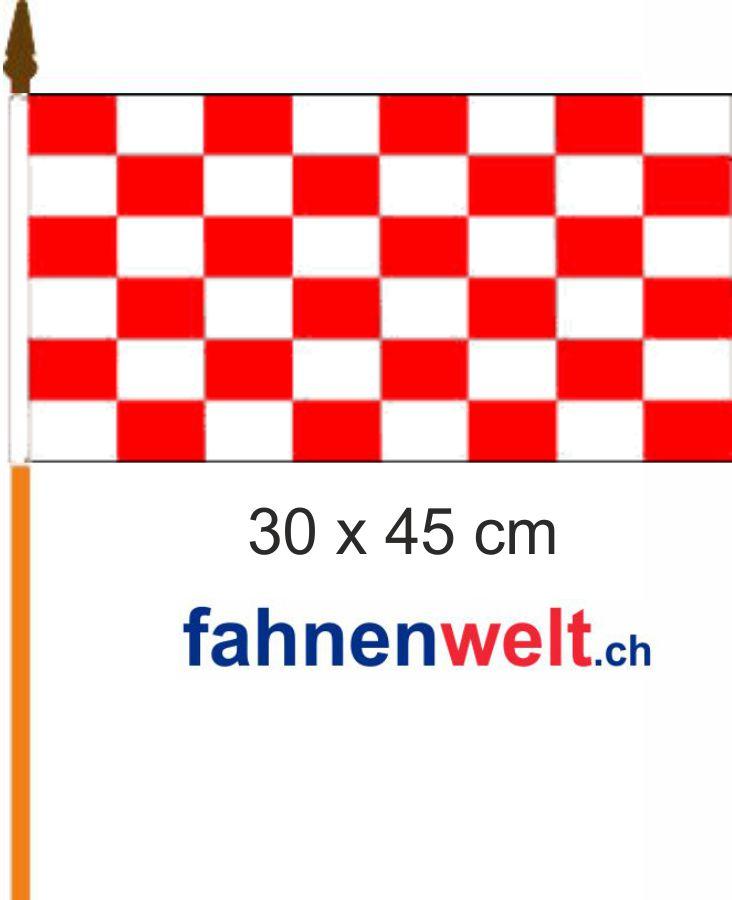 Fahne Am Stab Fan-Fahne Rot/weiss Gedruckt