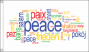 Peace in vielen Sprachen Fahne aus Stoff | 90 x 150 cm Peace Words