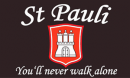 Fan-Fahne St. Pauli You'll never walk alone aus Stoff | 90 x 150 cm
