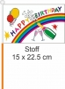 Happy Birthday / Flagge am Stab  Pack à 4 Stück | 15.5 x 22.5 cm