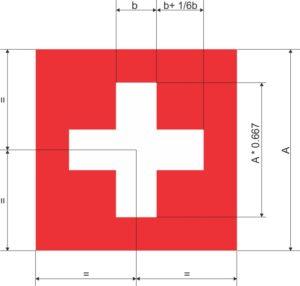 Schweizer Fahne vermasst