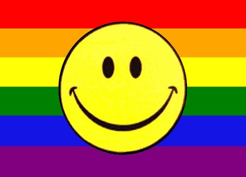 Regenbogen mit Smily Fahne