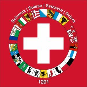 CH-Flagge mit allen Kantonen