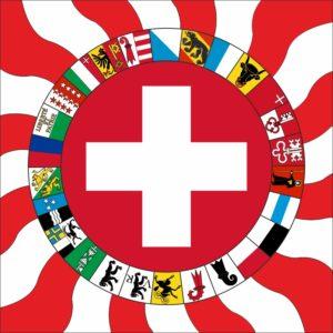 Geflammte Schweizerfahne mit Kantonen