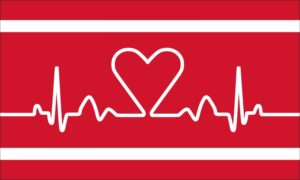 Herzfahne in rot weiss